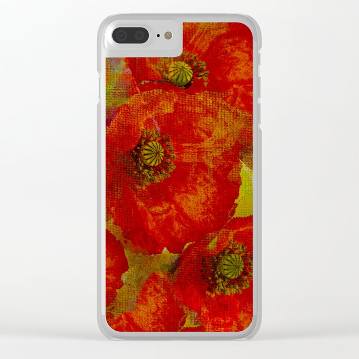 Poppies red & orange Clear iPhone Case