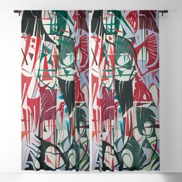 Frenzy- Abstract Geometric Collage Painting Blackout Curtain
