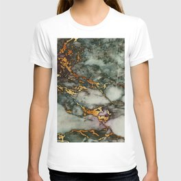 Gray Green Marble Glitter Gold Metallic Foil Style T-shirt