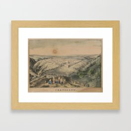 Vintage Pictorial Map of Jerusalem Israel (1846) Framed Art Print