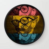 van gogh Wall Clocks featuring Hipster Van Gogh by Josrick