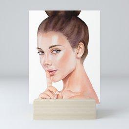Silence - Watercolor Portrait, Modern Women, Feminine Art Mini Art Print