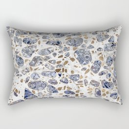 Terrazzo - Blue Agate and gold on marble #2 Rectangular Pillow