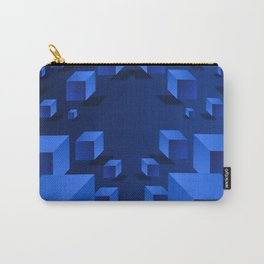 Blue Geometric Boxes Design Carry-All Pouch