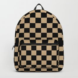 Black and Tan Brown Checkerboard Backpack