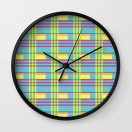 Pop Colorful Plaid Wall Clock