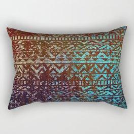 Grunge Bronze and blue Tribal Ethnic  Patter Rectangular Pillow