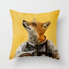 Space fox Throw Pillow