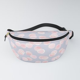 Pink bubbles on grey blue background Fanny Pack