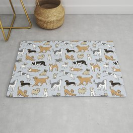 Dogs Fun Blue Rug