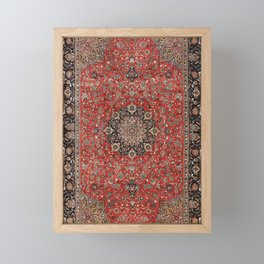 Persia Tabriz Old Century Authentic Colorful Black Burnt Red Vintage Rug Pattern Framed Mini Art Print