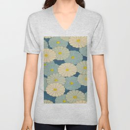 Shin-Bijutsukai – Japanese Design Blue Floral Pattern Unisex V-Neck