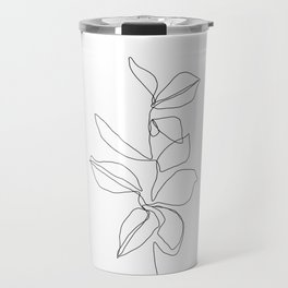One line minimal plant leaves drawing - Birdie Travel Mug