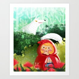 Hello Little Red Riding Hood Art Print