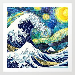 Tardis Starry Wave Night Art Print