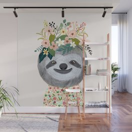 Sloth with flowers on head Wall Mural