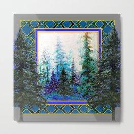 PINE TREES BLUE FOREST  LANDSCAPE TEAL PATTERN Metal Print
