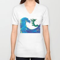 hokusai V-neck T-shirts featuring Hokusai Rainbow & Dragon by FACTORIE