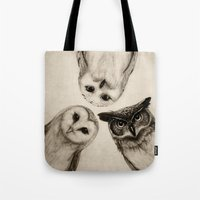 dude Tote Bags featuring The Owl's 3 by Isaiah K. Stephens