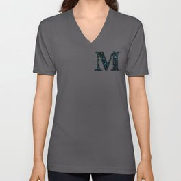 Letter M Monogram Blue Crystal Mixed Media Unisex V-Neck