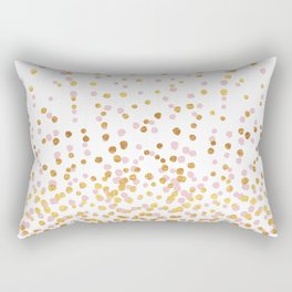 Floating Dots - Pink and Gold on White Rectangular Pillow