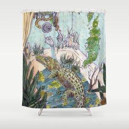 Crocodile in the Tub Shower Curtain
