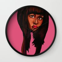 nicki Wall Clocks featuring Watch the queen conquer by Papa-Paparazzi