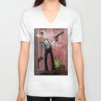 leon V-neck T-shirts featuring Leon by Eliseu Miranda