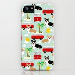 corgi welsh corgis hippie bus tropical beach surf life road trip corgi lover iPhone Case