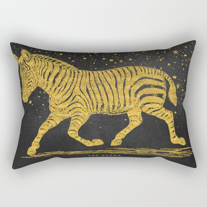 The golden Zebra Rectangular Pillow