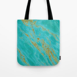 Luxury and glamorous gold glitter on aqua Sea marble Tote Bag