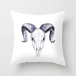 Ram sheep | skull Throw Pillow
