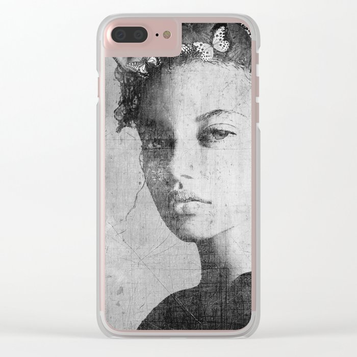 PORTRAIT (Woman with butterflies) Clear iPhone Case