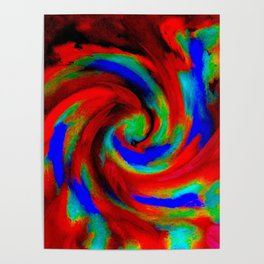 Red Blue Green Fireball Sky Explosion Poster
