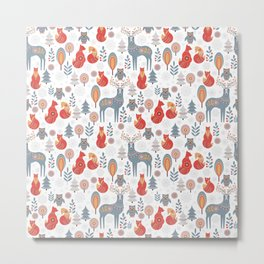 Seamless pattern with winter forest, deer, owl and Fox. The Scandinavian style. Metal Print