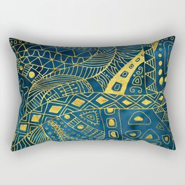 Tribal  Watercolor and Gold Pattern on blue Rectangular Pillow