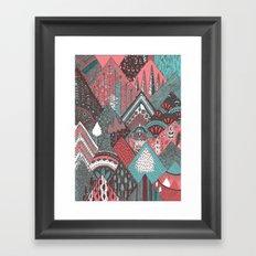 Red mountains Framed Art Print