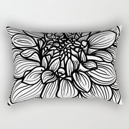 Dahlia in black and white Rectangular Pillow