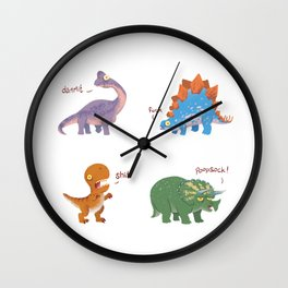 Potty Mouth Dinos Group Wall Clock