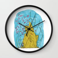 the life aquatic Wall Clocks featuring Our Life Aquatic by Hamburger Hands
