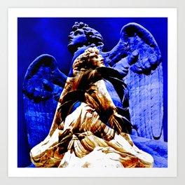 Blue Angel Wings Art Print