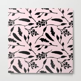 Hand painted black blush pink abstract floral Metal Print