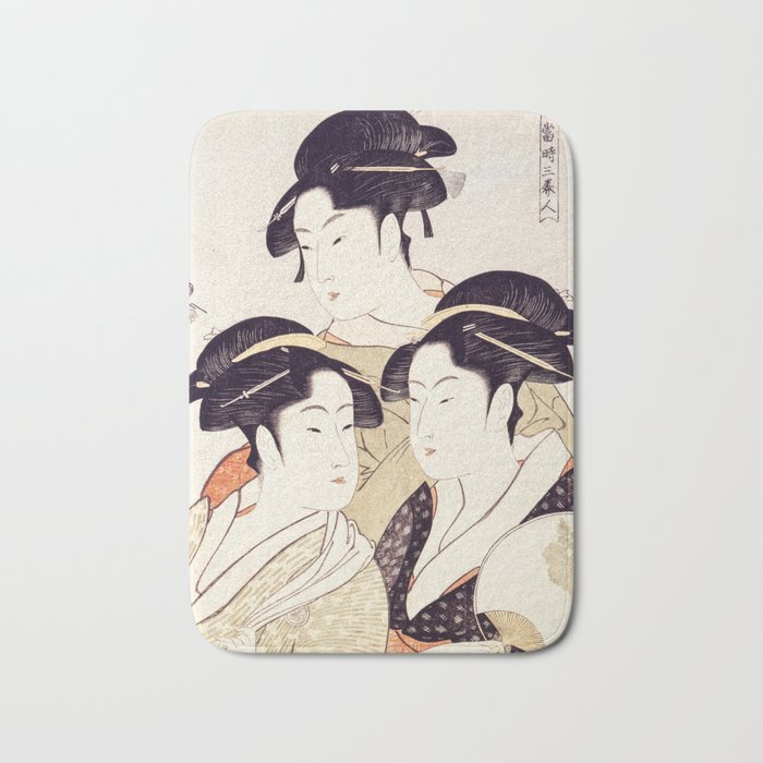 Three Beauties of the Present Day Geisha Print Bath Mat