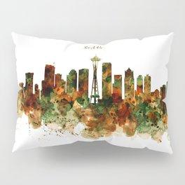 Seattle Watercolor Skyline Poster Pillow Sham