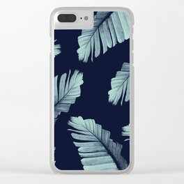 Navy Blue Banana Leaves Dream #2 #tropical #decor #art #society6 Clear iPhone Case