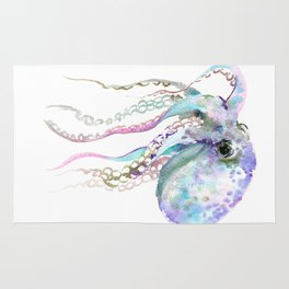 Octopus (soft gray, violet, turquouse) Rug