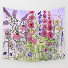 Garden Flowers and Blue Sky Whimsical  Wall Tapestry
