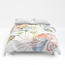 Nautilus and Lotus Surreal Watercolor Sea Animal Botanical Design Comforters