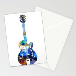 Vintage Guitar - Colorful Abstract Musical Instrument Stationery Cards