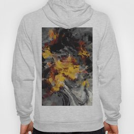Yellow / Golden Abstract / Surrealist Landscape Painting Hoody